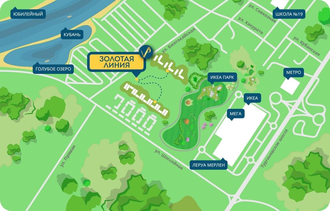 """Карта расположения ЖК """"Золотая Линия"""", Краснодар, официальный сайт"""