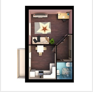 Планирование квартир, однокомнатная квартира 2, Золотая Линия