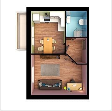 Планирование квартир, двухкомнатная квартира, Золотая Линия