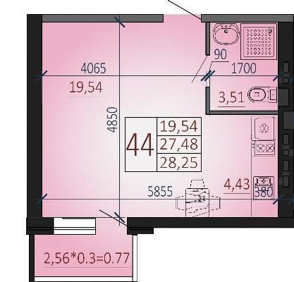Студия 2-2, Квартира, Новая Адыгея, РФ, Россия